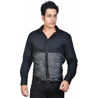 Dazzio Men's Black Lounge Wear Shirt - Option 1
