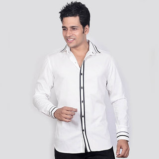 Dazzio Men's White Smart Casual Shirt - Option 2