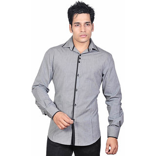 Dazzio Men's Stylish Grey Smart Casual Shirt