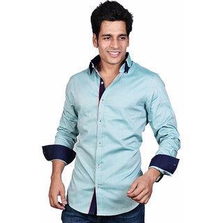 Dazzio Men's Green Smart Casual (With 3 Collar Botton) Shirt