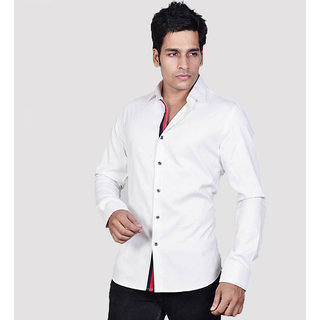 Dazzio Men's White Smart Casual Shirt - Option 4