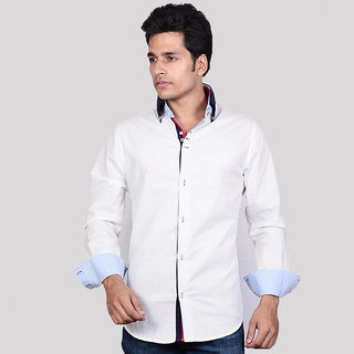 Dazzio Men's White Smart Casual Shirt - Option 5