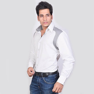 Dazzio Men's White Smart Casual Shirt - Option 6