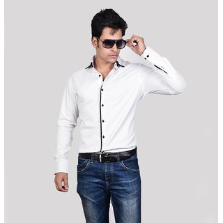 Dazzio Men's White Smart Casual Shirt - Option 7