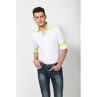Dazzio Men's White Smart Casual Shirt - Option 12