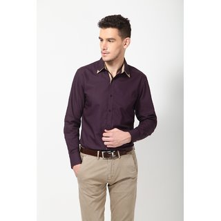 Dazzio Men's Stylish Purple Smart Casual Shirt