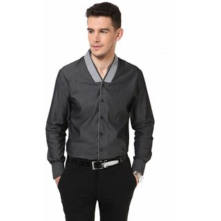 Dazzio Stylish Men's Grey Smart Casual Shirt