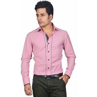 Dazzio Men's Crimson Pink Smart Casual Shirt