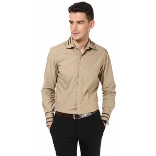 Dazzio Men's Stylish Brown Smart Casual Shirt