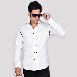 Dazzio Men's White Double Button Smart Casual Shirt