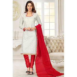 Sareemall White Chanderi Embroidered Salwar Suit Dress Material