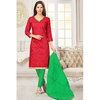 Sareemall Red Chanderi Embroidered Salwar Suit Dress Material