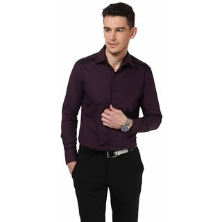 Dazzio Men's Purple Smart Casual Shirt