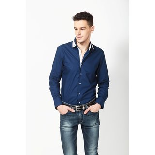 Dazzio Men's Blue Lounge Wear Shirt