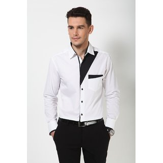 Dazzio Men's White Smart Casual Shirt - Option 15