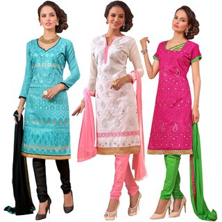 PARISHA Present 3 Pieces combo Sky Blue, White, Dark Pink Embroidered Un Stitched Straight Suit 3ASG3013-14-15