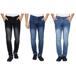 Wajbee Mens Black and Blue Color Stretchable Jeans-Pack of 3
