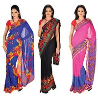 Zoha Stylish Pack Of 3 Designer Georgette Sarees
