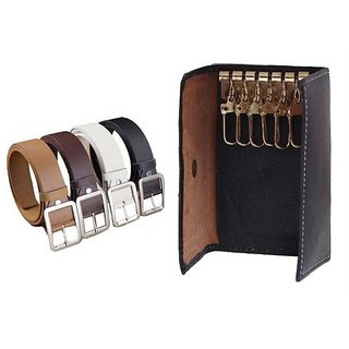Leatherite Belt For Mens - Pack Of 4 With Leather Key Chain Holder