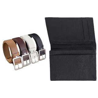 Leatherite Belt For Mens - Pack Of 4 With Credit Card / Visiting Card Holder In Genuine Leather