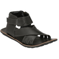 Wave Walk MenS Black Casual Zip Sandals (911-BLACK)