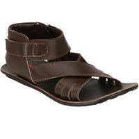 Wave Walk MenS Brown Casual Zip Sandals (911-BROWN)