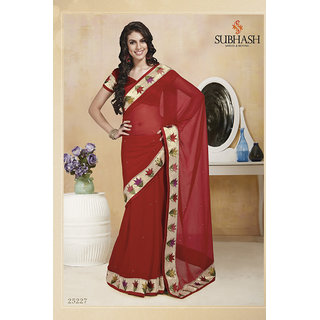 Shopeezo Daily Wear Red Color Chiffon Saree/Sari