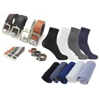 Pack of 4 Leatherite Belt For Mens - Pack Of 4 With 6 Pair Men Colors Ribbed Formal Wear Dress Socks
