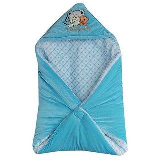Garg Teddy Family Hooded Shearing Velvet Sky Blue Baby Blanket
