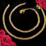 Beautiful Design Gold Plated Anklet Payal With White Stone