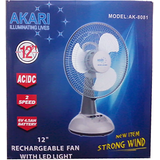 Akari  Rechargeable Table Fan 12 inches high speed Osicalltion
