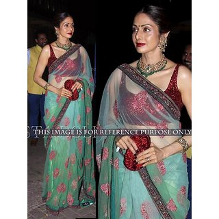 Thankar Green  Sky Multy Work Nylon Net Bollywood Designer Saree