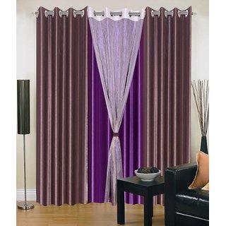 iLiv Stylish curtains combo set of 4 -2brwn1pplwid1tissu5ft: Buy ...