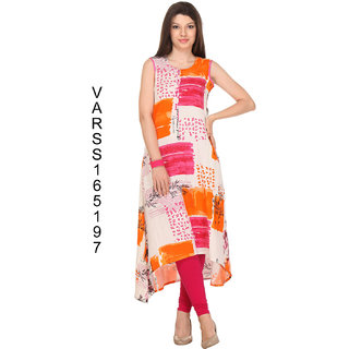 Firstloot White Color Rayon flex kurti