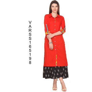 Firstloot Rust Orange Color Flex kurti