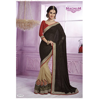 Shopeezo Daily Wear Black  Beige Color Georgette Saree/Sari