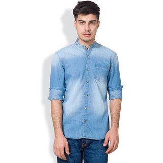 Highlander Blue Mandarin/Chinese Casual Shirt For MenHlsh008853