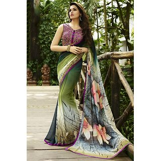 Sareemall Multi  Georgette Lace Border Saree with Unstitched Blouse SBY6109
