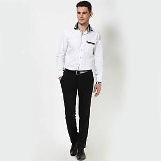 Dazzio Men's White Smart Casual Shirt - Option 18