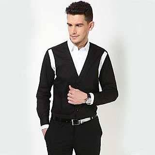 Dazzio Men's Black Smart Casual Shirt - Option 8
