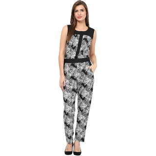 The Gud Look White Poly Crepe Printed Jumpsuit