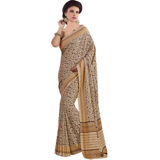 Sareemall Beige Linan Silk Printed Saree With Unstitched Blouse AKT10102