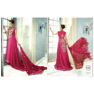 Pink Color Long Designer Semi Stitched Suit By Me House