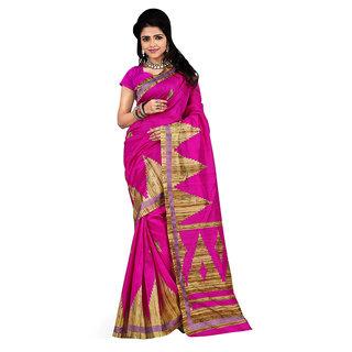 Sareemall Pink Bhagal Puri Saree with Unstitched Blouse IMP1005