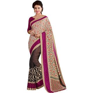 Sareemall Beige  Brown Manipuri Silk Printed Saree With Unstitched Blouse AKT10105