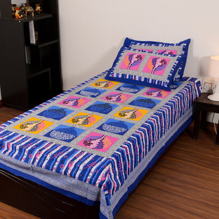 Chokor Jaipuri Cotton Single Bedsheet With 2 Pillows
