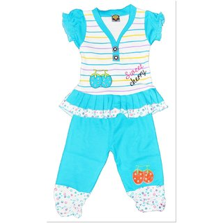 Kids Wear Blue Girls Printed Cotton Tops