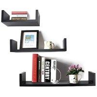 Black Floating Wall Shelf - Set Of 3 'U' Shape Wall Shelves