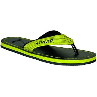 STYLAR Virat II Flip Flops (Black and Neon Yellow)