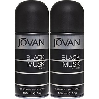 Jovan Black Musk Deodorant Spray (Pack Of 2) Body Mist - For Men (300 Ml)